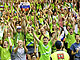 Slovenian fans celebrate a third consecutive victory for their team